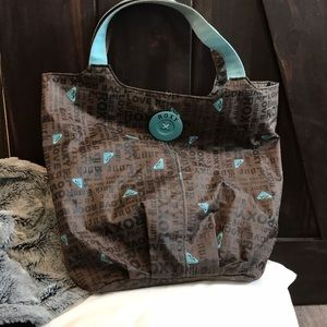 Roxy tote bag in brown and teal